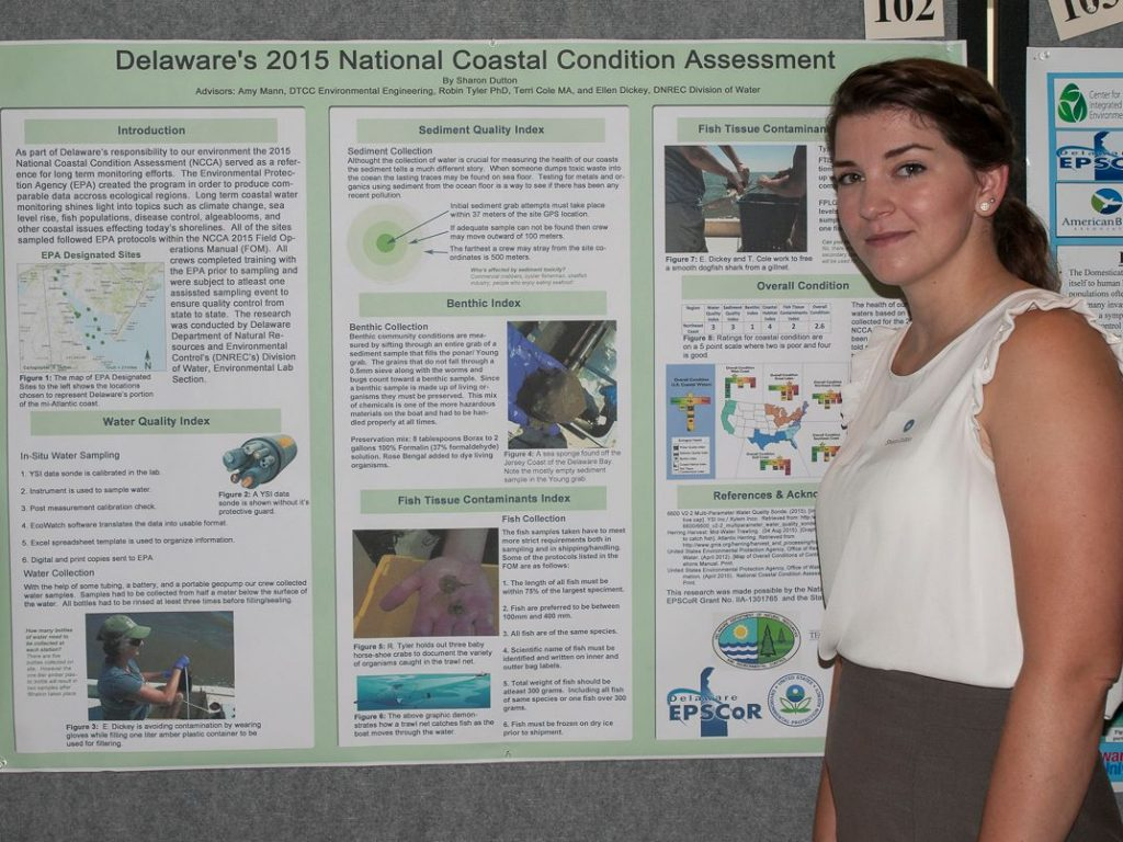 Photo of a student standing by her research poster